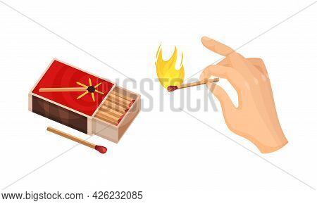Matchbox And Hand Holding Match As Small Wooden Stick For Starting Fire Vector Set