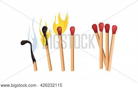 Matches As Small Wooden Stick For Starting Fire Vector Set