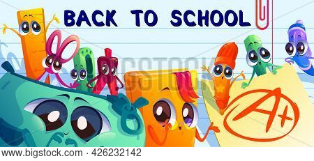 Back To School Cartoon Banner With Kawaii Student Supplies Characters. Stationery Pencil, Scissors,