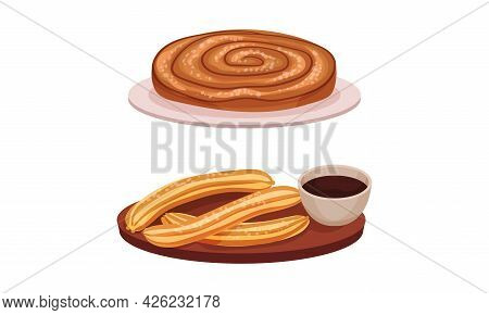 Spain Attributes With Churros Dessert And Sweet Pastry Vector Set