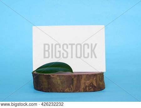 A White Cardboard Card With A Place For Text And A Green Ficus Leaf On A Wooden Stand. Mock Up.