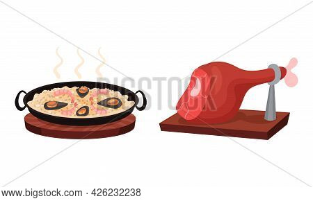 Spain Attributes With Seafood Paella Dish And Jamon Vector Set