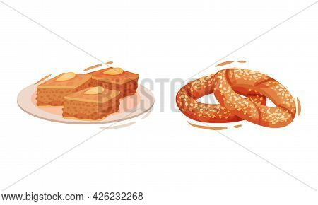 Turkey Culture Traditional Symbols With Simit Circular Bread With Sesame Seeds And Baklava Vector Se