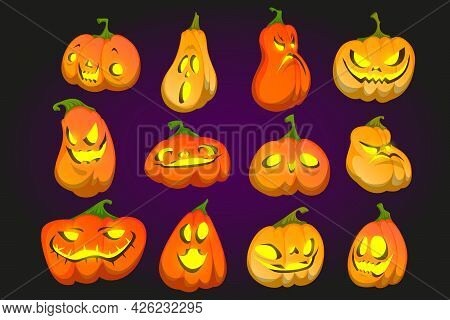 Scary Halloween Pumpkins With Spooky Smile And Yellow Glow. Vector Cartoon Set Of Traditional Autumn