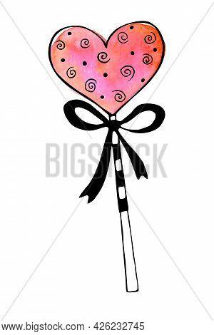 Watercolor Heart Shape Lollipop, Gingerbread On Stick With Bow. Hand Drawn Contour Doodle Clip Art.