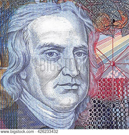 World Famous English Medieval Scientist Isaac Newton. Fragment Of Banknote