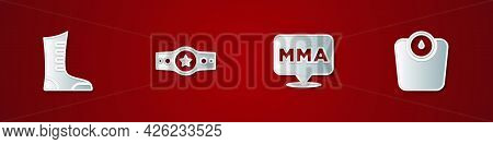 Set Sport Boxing Shoes, Boxing Belt, Fight Club Mma And Bathroom Scales Icon. Vector