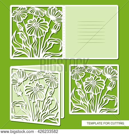 Folding Card With Carved Flowers, Daisies. Blank For Congratulations On Mother's Day, March 8, Women