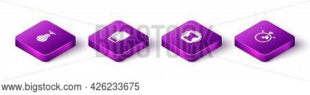 Set Isometric Punching Bag, Boxing Glove, Helmet And Stopwatch Icon. Vector