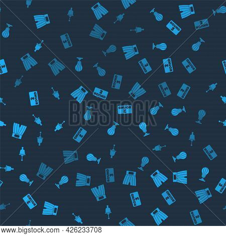 Set Boxing Short, Punching Bag, Ring Board And Ringing Bell On Seamless Pattern. Vector
