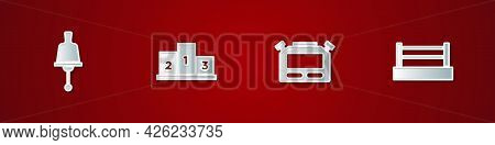 Set Ringing Bell, Award Over Sports Winner Podium, Stopwatch And Boxing Ring Icon. Vector