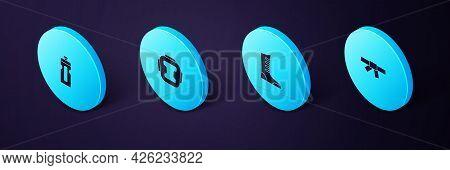 Set Isometric Black Karate Belt, Sport Boxing Shoes, Boxing Helmet And Fitness Shaker Icon. Vector