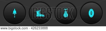 Set Ringing Bell, Sport Boxing Shoes, Punching Bag And American Football Ball Icon. Vector