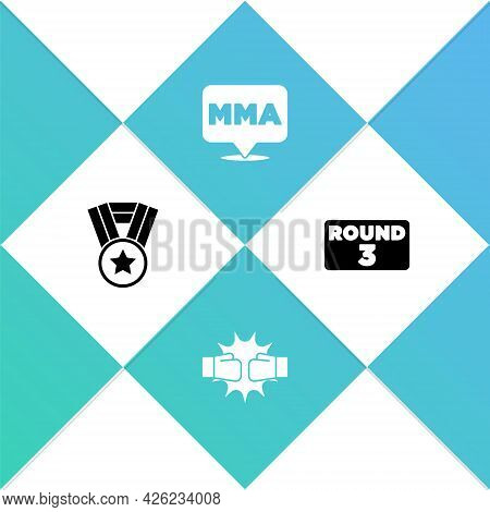 Set Medal, Punch In Boxing Gloves, Fight Club Mma And Boxing Ring Board Icon. Vector