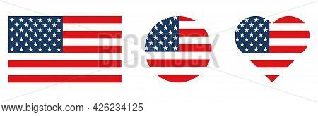 Set Of American Flag In The Shape Of Square, Heart And Circle. Vector Illustration Isolated On White