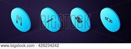 Set Isometric Boxing Belt, Punch Boxing Gloves, Japanese Katana And Jump Rope Icon. Vector