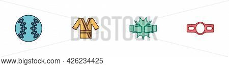 Set Baseball Ball, Japanese Costume Kimono, Punch In Boxing Gloves And Boxing Belt Icon. Vector