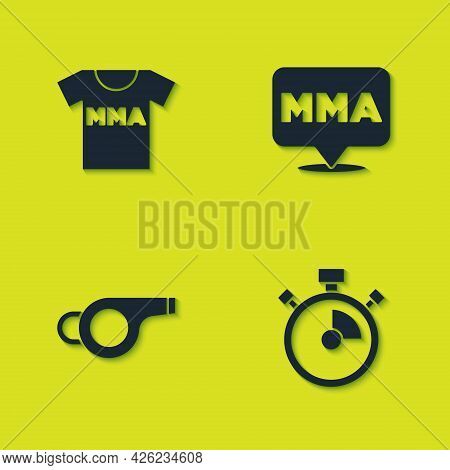 Set T-shirt With Fight Club Mma, Stopwatch, Whistle And Fight Icon. Vector