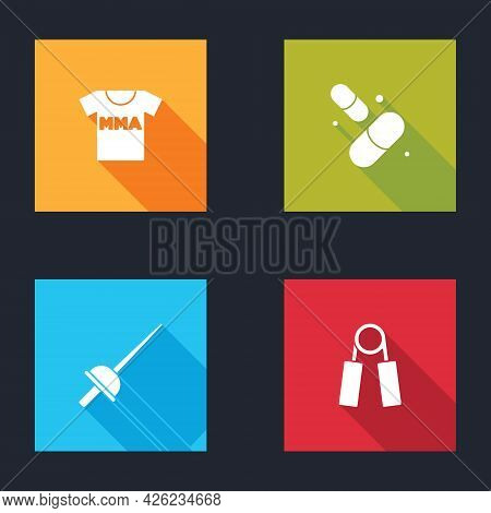 Set T-shirt With Fight Club Mma, Vitamin Pill, Fencing And Sport Expander Icon. Vector