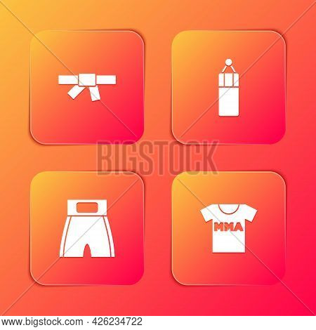 Set Black Karate Belt, Punching Bag, Boxing Short And T-shirt With Fight Club Mma Icon. Vector