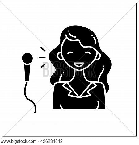 Comedian Glyph Icon. Cheerful Woman Create Jokes, Speaks To Public. Having Microphone. Stand Up Show