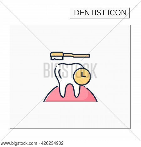 Caries Prevention Color Icon. Good Oral Hygiene Can Help Prevent Tooth Decay. Timely Treatment. Heal