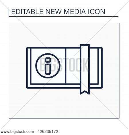 Book Line Icon. Opened Book With Bookmark. Information Source. Printed Sheets Of Paper. New Media Co