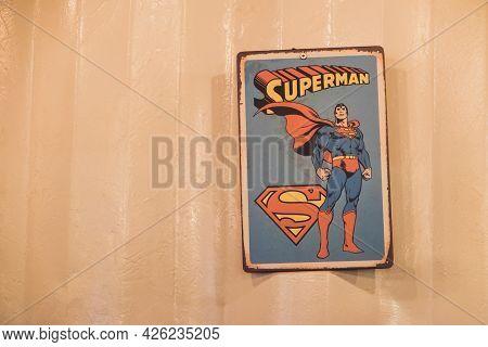 Nakhon Nayok - April 23 : Old Comics Superman Sign Logo On Wall In Shop On April 23, 2017 In Nakhon