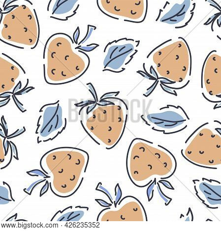 Strawberry Seamless Pattern On A White Background. Hand-drawn Background With Leaves And Spots. Vect