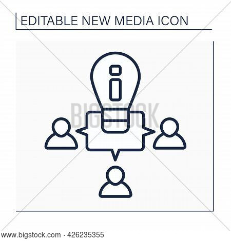 Ideas Exchange Line Icon. Crowdsourcing. Sharing Meaning With Like-minded People. Communication Sour