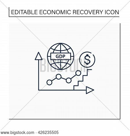 Gdp Growth Line Icon. Gross Domestic Product.increase In Production And Services In Economy. Upswing
