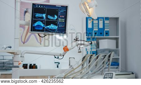 Close Up Medical Orthodontist Equipment In Modern Bright Office, Orthodontic Drill And Other Profess