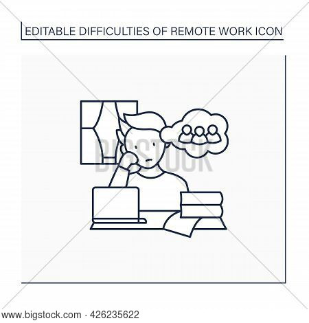 Remote Work Line Icon. Loneliness Through Work. Communication Missing.career Difficulties Concept. I