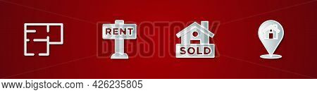 Set House Plan, Hanging Sign With Rent, Text Sold And Location House Icon. Vector
