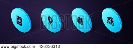 Set Isometric Hanging Sign With Text Sold, House Under Protection, Location House And Washer Icon. V
