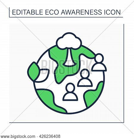 Community Garden Line Icon. Community-managed Open Spaces. Land Gardened Collectively By Groups Of P