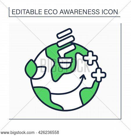 Energy Efficient Light Bulbs Line Icon. Halogen Incandescents, Compact Fluorescent Lamps. Less Energ