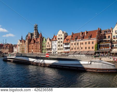 Gdansk, Poland - Sept 9, 2020: The Rotating Footbridge Of St The Spirit To The Granary Island On The