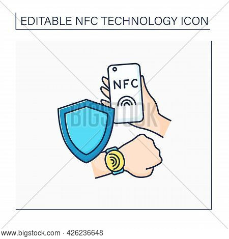 Nfc Color Icon. Safety Payment System. Contactless Security On Mobile Phone, Smart Watch. Near Field