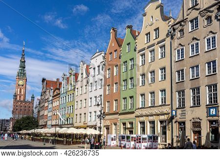 Gdansk, Poland - Sept 6, 2020: The Facades Of The Restored Gdańsk Patrician Houses In The Long Marke