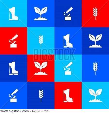Set Waterproof Rubber Boot, Plant, Wooden Axe And Wheat Icon. Vector