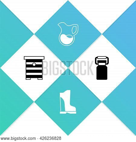 Set Hive For Bees, Waterproof Rubber Boot, Jug Glass With Milk And Can Container Icon. Vector