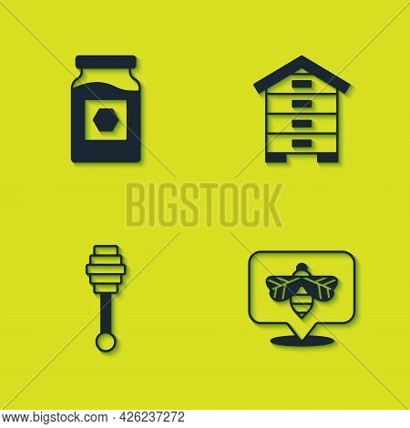 Set Jar Of Honey, Bee, Honey Dipper Stick And Hive For Bees Icon. Vector