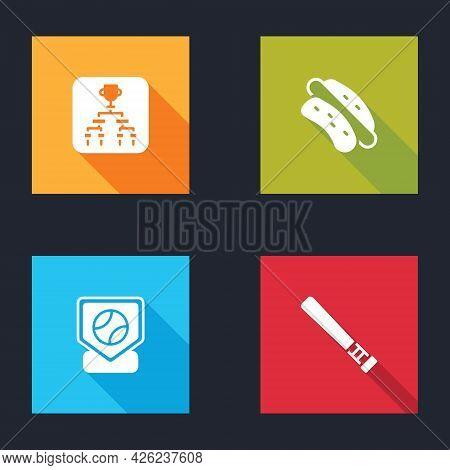 Set Championship Tournament Bracket, Hotdog Sandwich, Baseball Base And Bat Icon. Vector