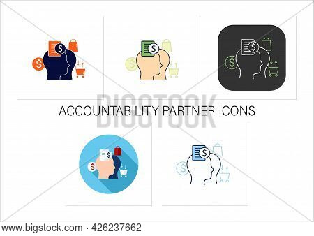 Accountability Partner Icons Set.find Accountability Partner.trusted Person.thoughtful Spending Mone