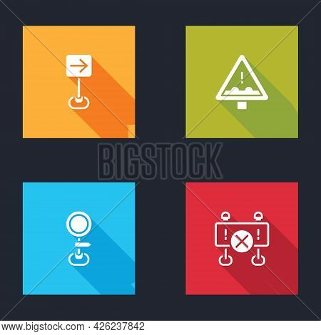 Set Traffic Sign Turn Right, Uneven Road Ahead, Road Traffic And Barrier Icon. Vector