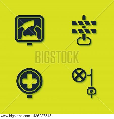 Set Drawbridge Ahead, Stop Sign With Camera, Hospital Road Traffic And Road Barrier Icon. Vector