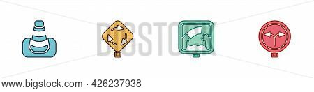 Set Traffic Cone, Roundabout Traffic Sign, Drawbridge Ahead And Fork In The Road Icon. Vector