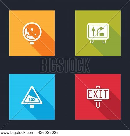 Set Road Warning Rockfall, Traffic Sign, Steep Ascent And Descent Road And Fire Exit Icon. Vector