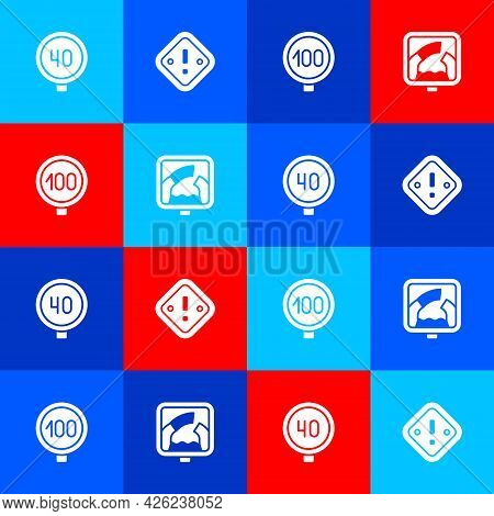 Set Speed Limit Traffic, Exclamation Mark In Triangle, And Drawbridge Ahead Icon. Vector